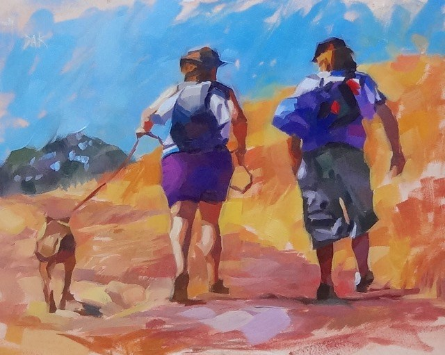 """California Hikers"" original fine art by Deborah Ann Kirkeeide"