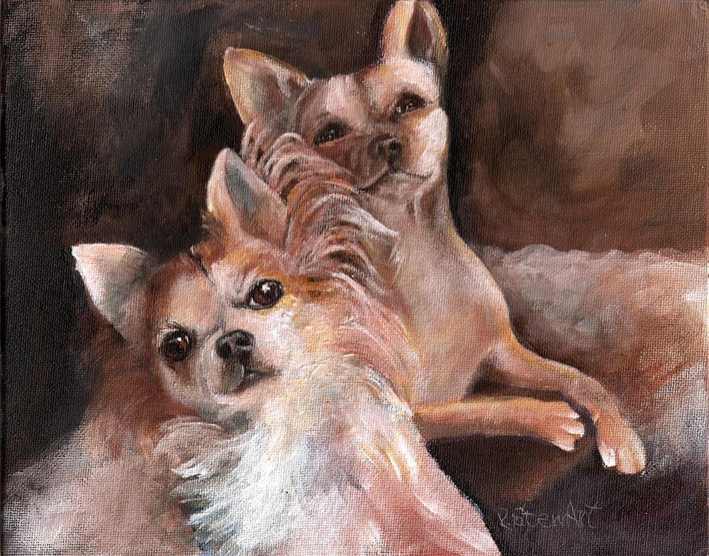 """8x10 Poppy and Tina 2 Chihuahuas Acrylic on Canvas Board SFA Penny StewArt"" original fine art by Penny Lee StewArt"