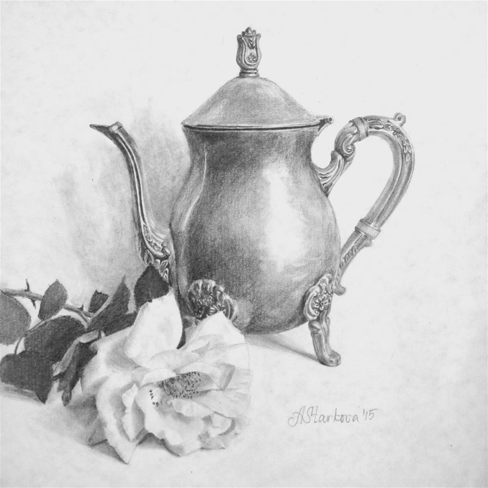 """Teapot and a rose"" original fine art by Anna Starkova"