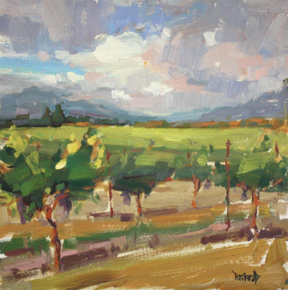 """Vineyard Afternoon in the Columbia Gorge"" original fine art by Cathleen Rehfeld"