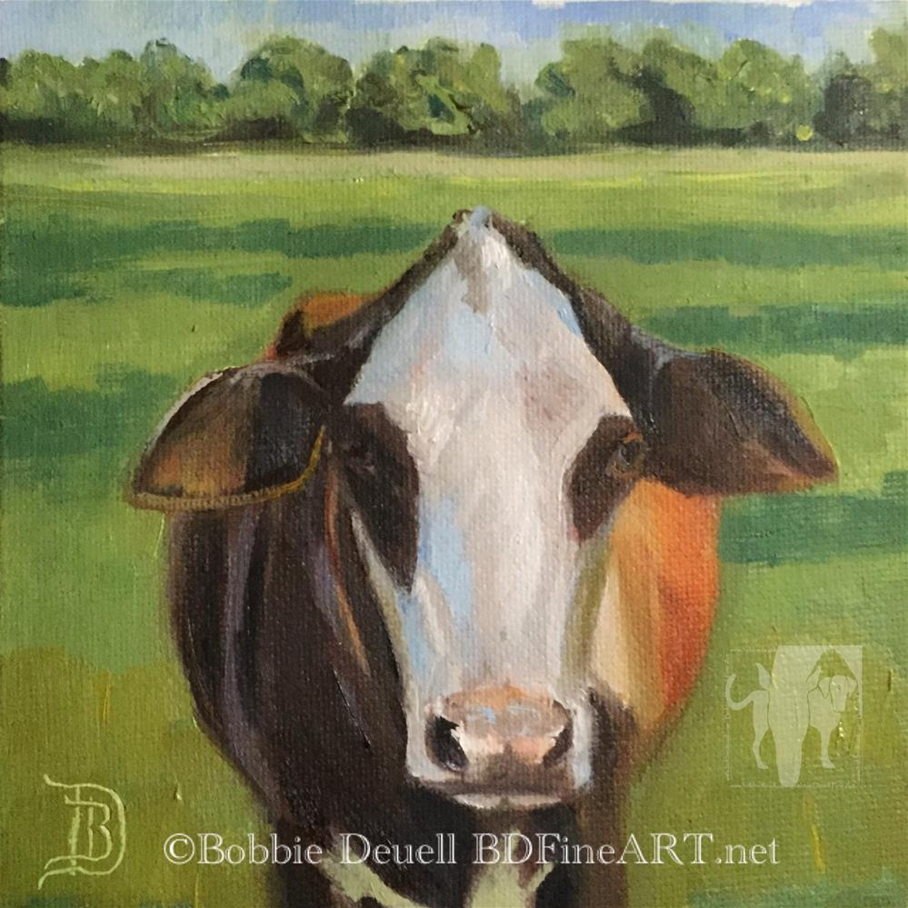 """#4 Moo"" original fine art by Bobbie Deuell"