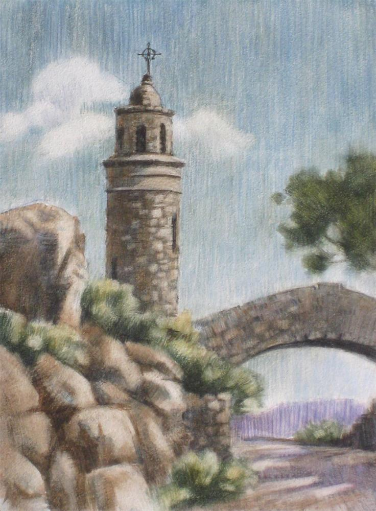 """Mt. Rubidoux Tower"" original fine art by Ginger Pena"