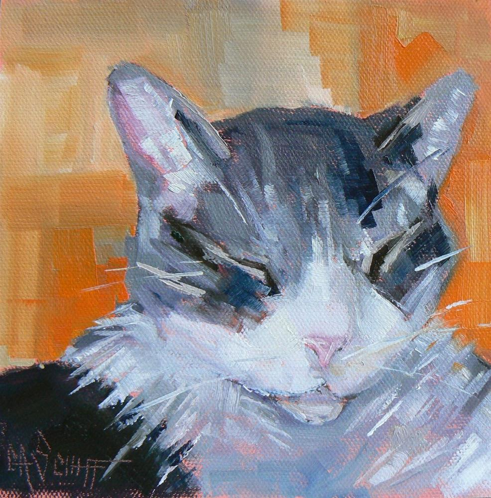 """Daily Painting Satisfaction, Cat Portrait, 6x6  SOLD"" original fine art by Carol Schiff"
