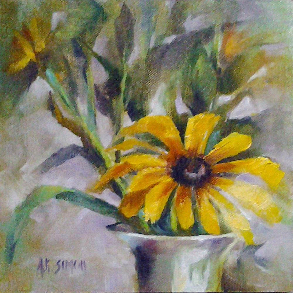 """Black-Eyed Susan"" original fine art by A.K. Simon"