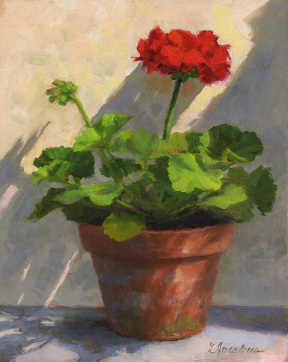 """""""Sunlit Geranium"""" original fine art by Linda Jacobus"""