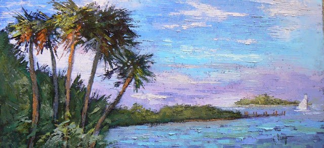 """Florida Landscape, 12x24 Original Oil Painting, SOLD"" original fine art by Carol Schiff"
