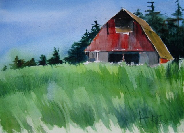 """Whidby Island Barn watercolor landscape and sketches"" original fine art by Robin Weiss"