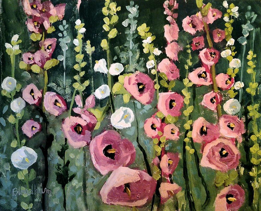 """""""Hollyhocks"""" original fine art by Linda Blondheim"""