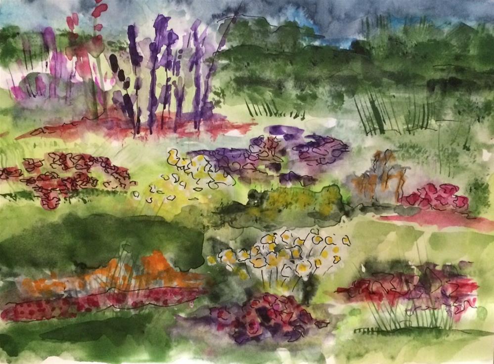"""Summer Garden  #1   6 x 8 Watercolor/ink"" original fine art by Nancy Beard"
