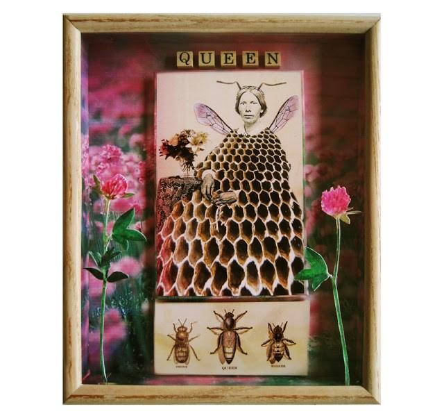 """Queen Bee mixed media shadow box art by Linda Apple"" original fine art by Linda Apple"