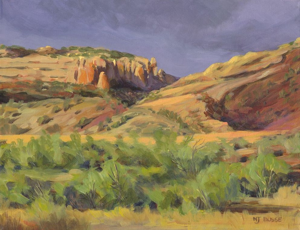 """""""Original Colorado Landscape Painting The Coming Rain by Nancee Jean Busse, Painter of the American"""" original fine art by Nancee Busse"""