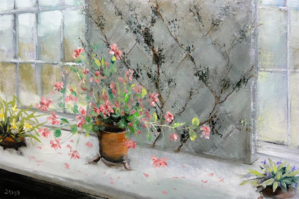 """Geraniums And Orchids On A Ledge"" original fine art by Dalan Wells"
