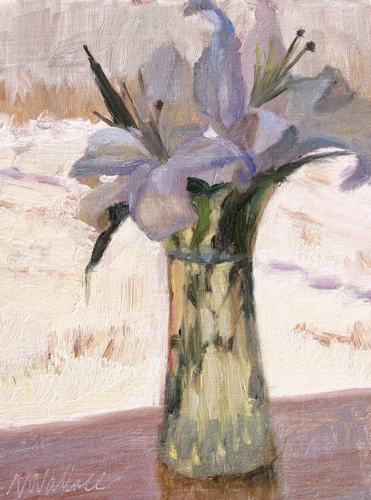 """#12 Lilies in snow"" original fine art by Nancy Wallace"