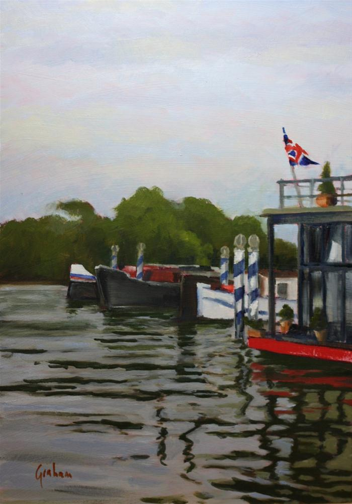 """House boats at Putney Riverside"" original fine art by Graham Townsend"