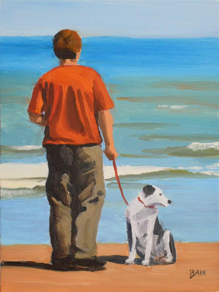 """Red Shirt, Red Leash"" original fine art by Peter Bain"