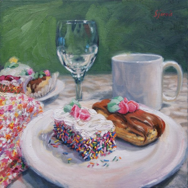 """Dessert is Served"" original fine art by Susan N Jarvis"
