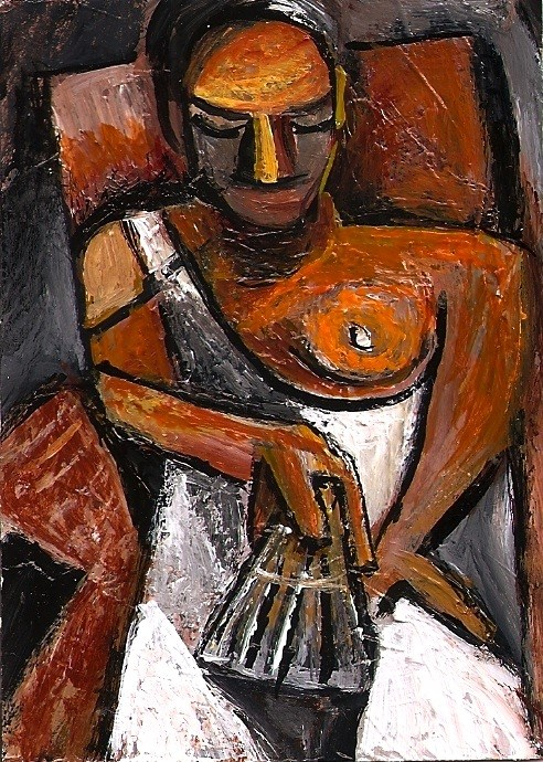 """""""ACEO Woman with a Fan in the style of Picasso Cubism Abstract Penny StewArt"""" original fine art by Penny Lee StewArt"""
