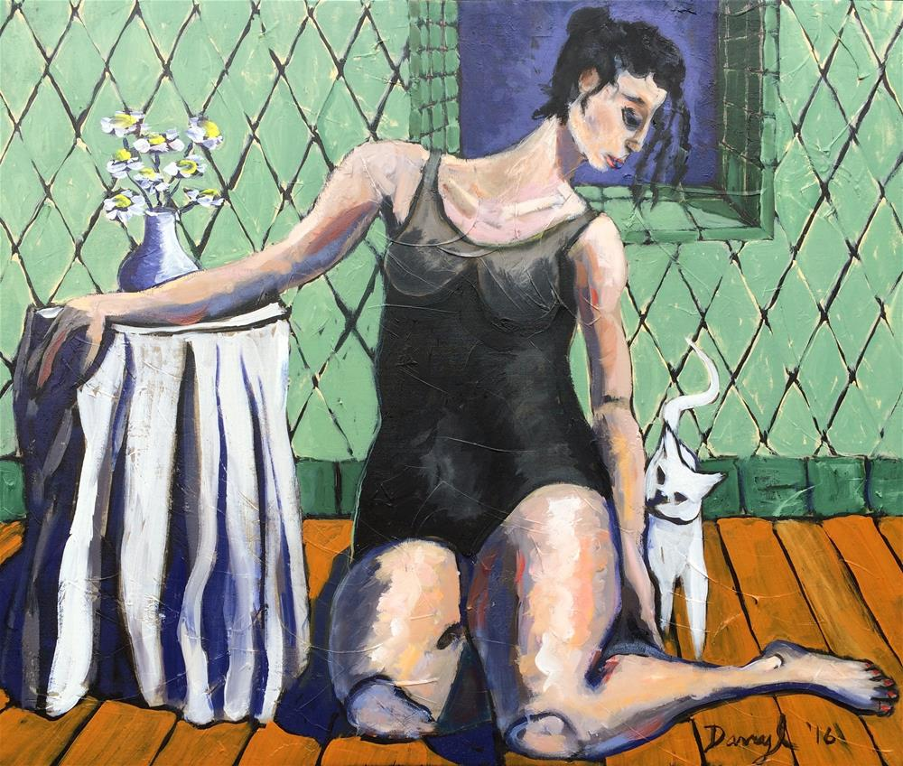 """'Woman with a White Cat"" original fine art by Darryl Freeman"