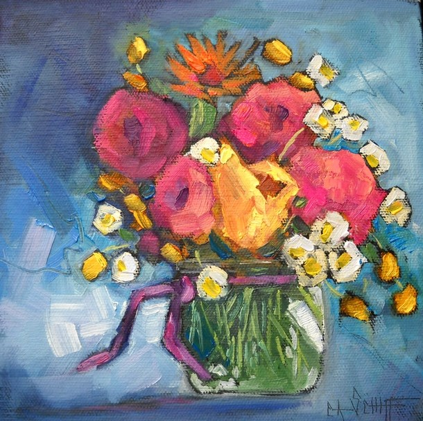 """Flower Painting, Floral Still Life, Mixed Blessings by Carol Schiff, 8x8x1.5 Oil"" original fine art by Carol Schiff"