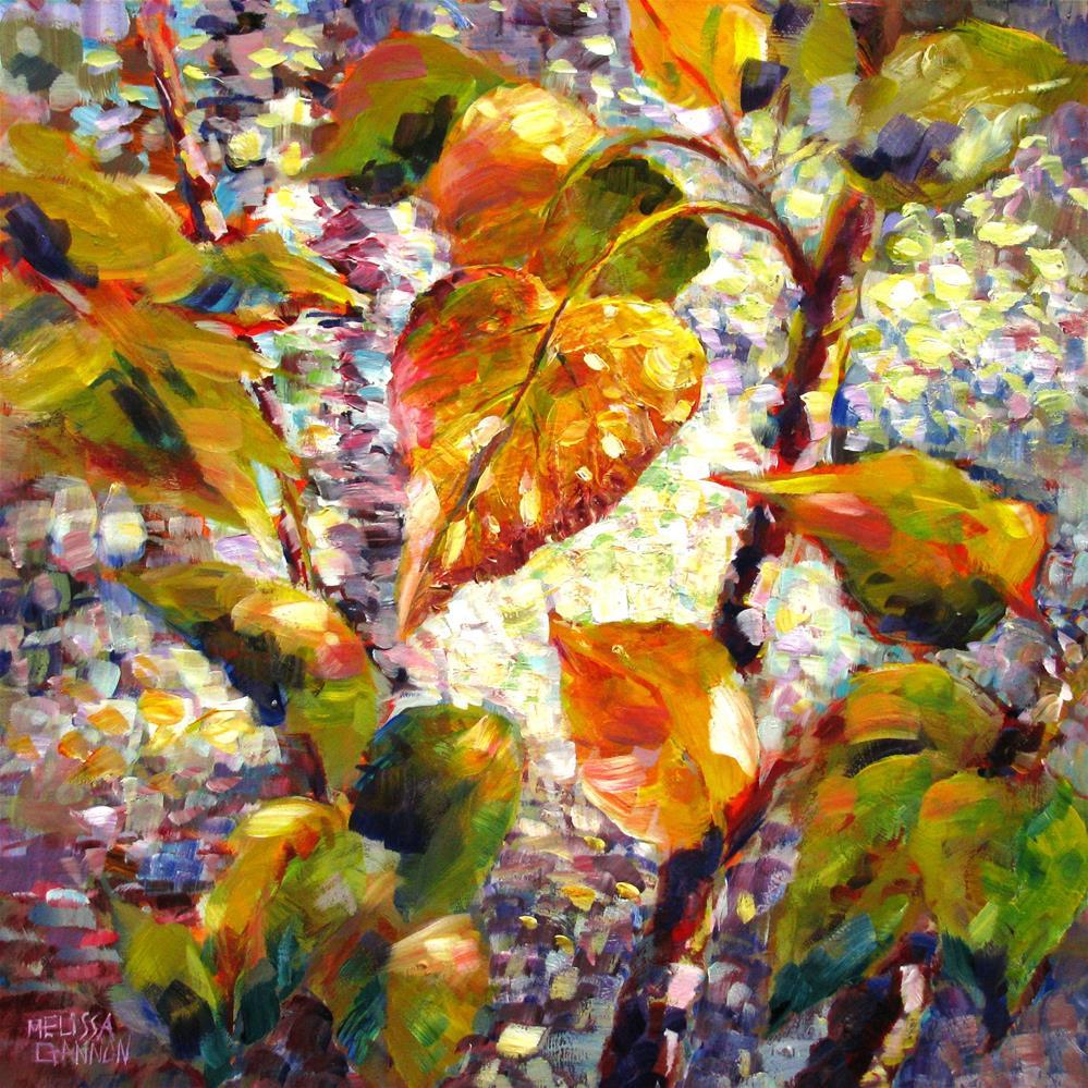 """Leaves Overlooking Water"" original fine art by Melissa Gannon"