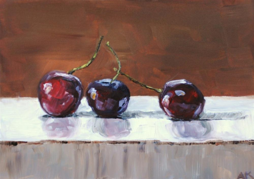 """Just Cherries"" original fine art by Alison Kolkebeck"