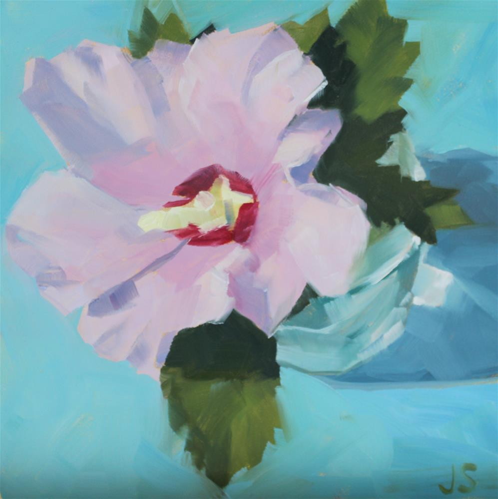 """Rose of Sharon in Glass Jar"" original fine art by Jamie Stevens"