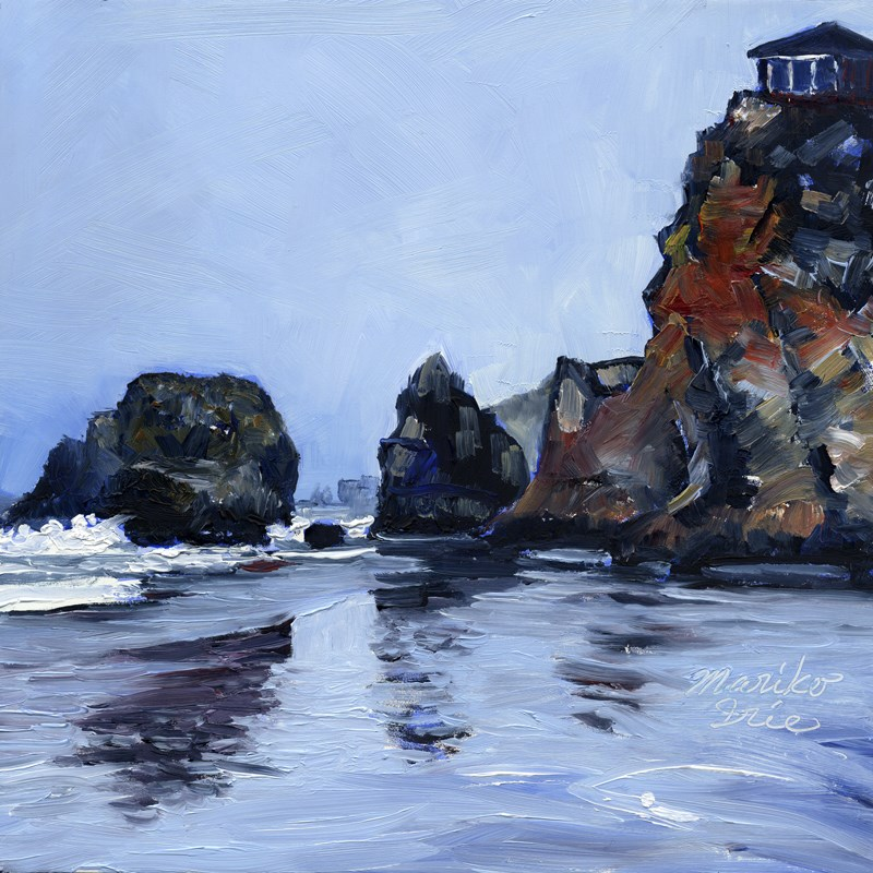 """792. A House on Cliff (Seaside Beach)"" original fine art by Mariko Irie"