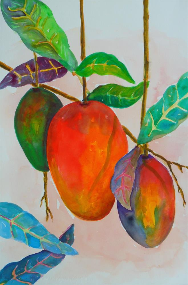 """MANGO DELIGHT"" original fine art by Mary Ellen Koser"