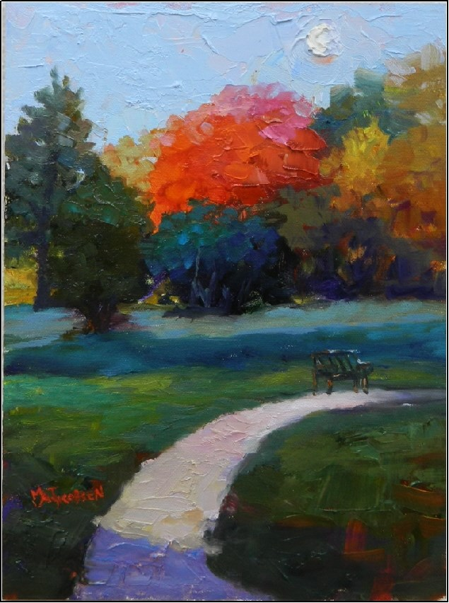 """Morning Moon over Christ Church Meadow, 9x12, oil on panel, moonscape, autumn foliage, red maple"" original fine art by Maryanne Jacobsen"