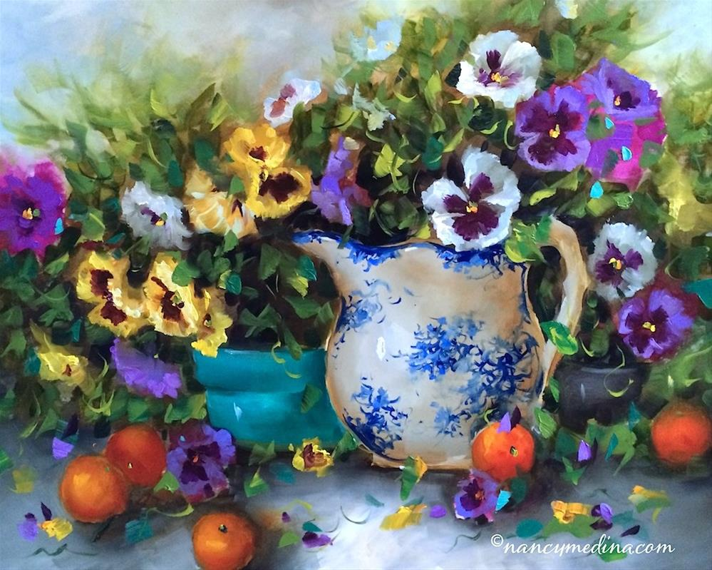 """Pansy Panoply - Flower Paintings by Nancy Medina"" original fine art by Nancy Medina"