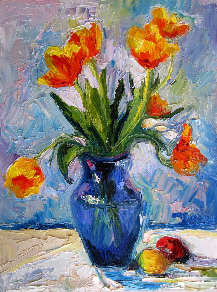 """Flame Tulips, Blue Vase"" original fine art by Carol Steinberg"