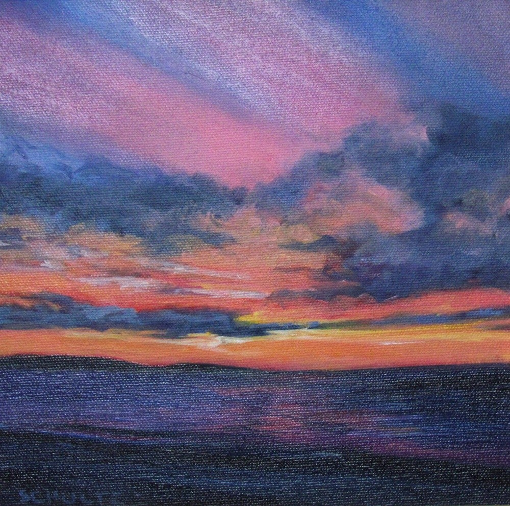 """Framed Pink Sky, Orange Light"" original fine art by Lynne Schulte"