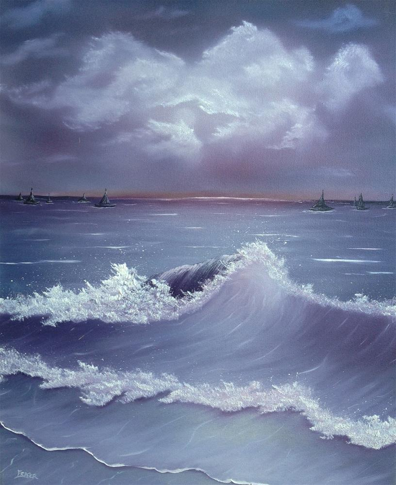 """Moonlite Sail"" original fine art by Ken Fraser"