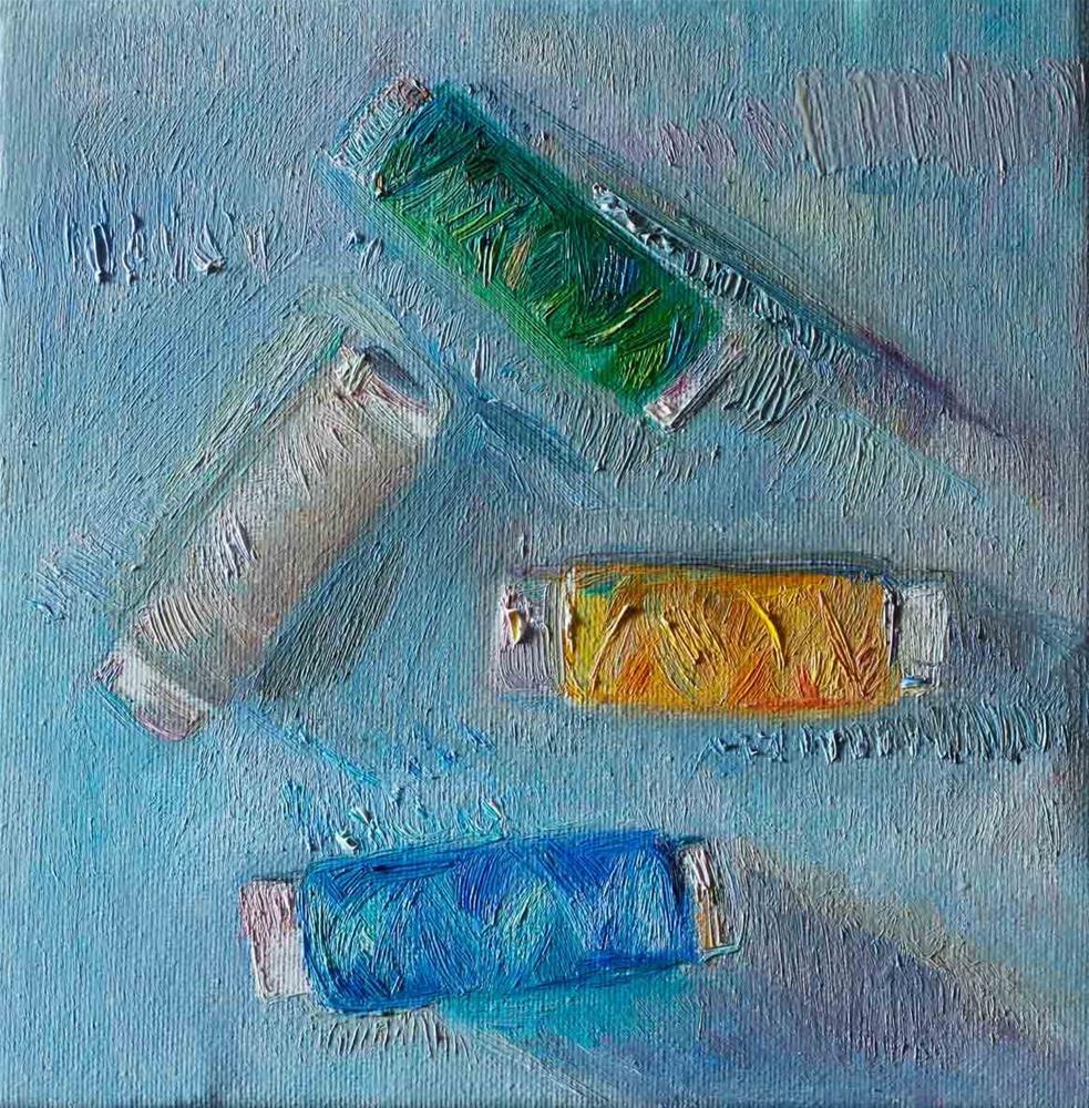 """Four Spools Of Thread On A Blue"" original fine art by Anna Fine Art"