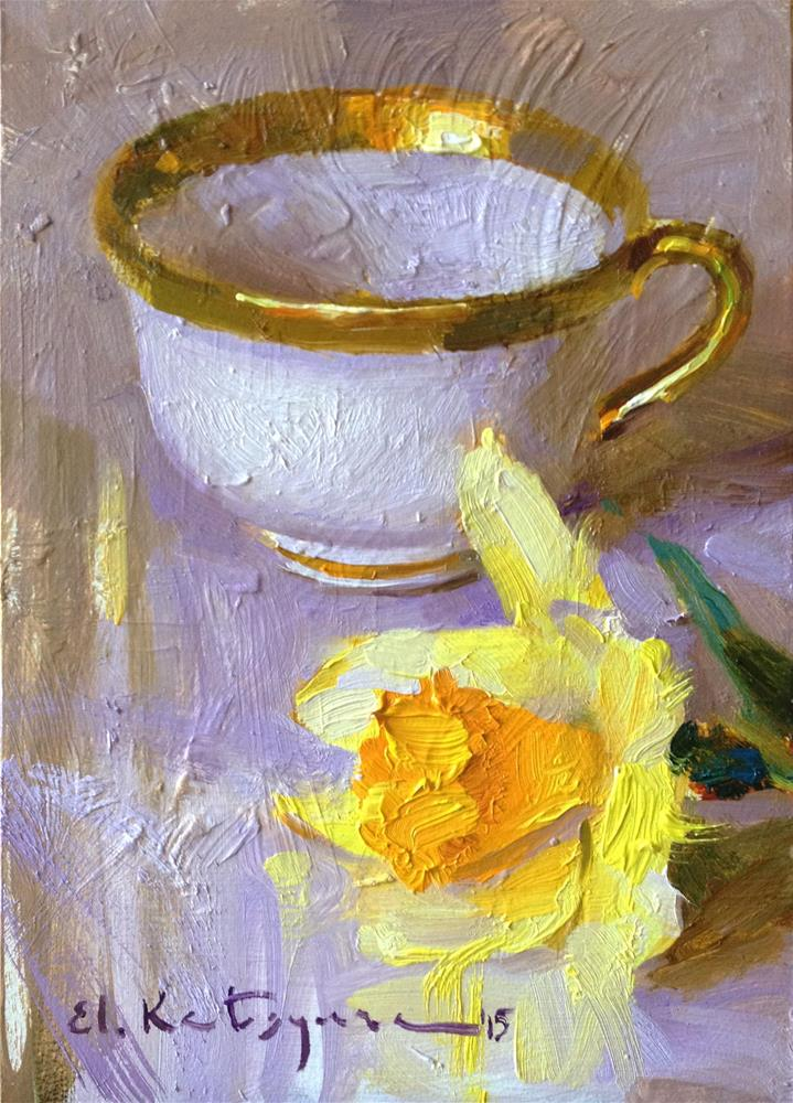 """Golden Teacup, Yellow Daffodil"" original fine art by Elena Katsyura"
