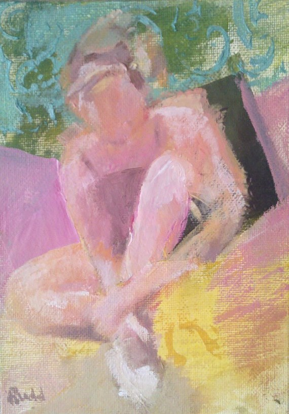 """Ballerina Sitting"" original fine art by Ann Rudd"