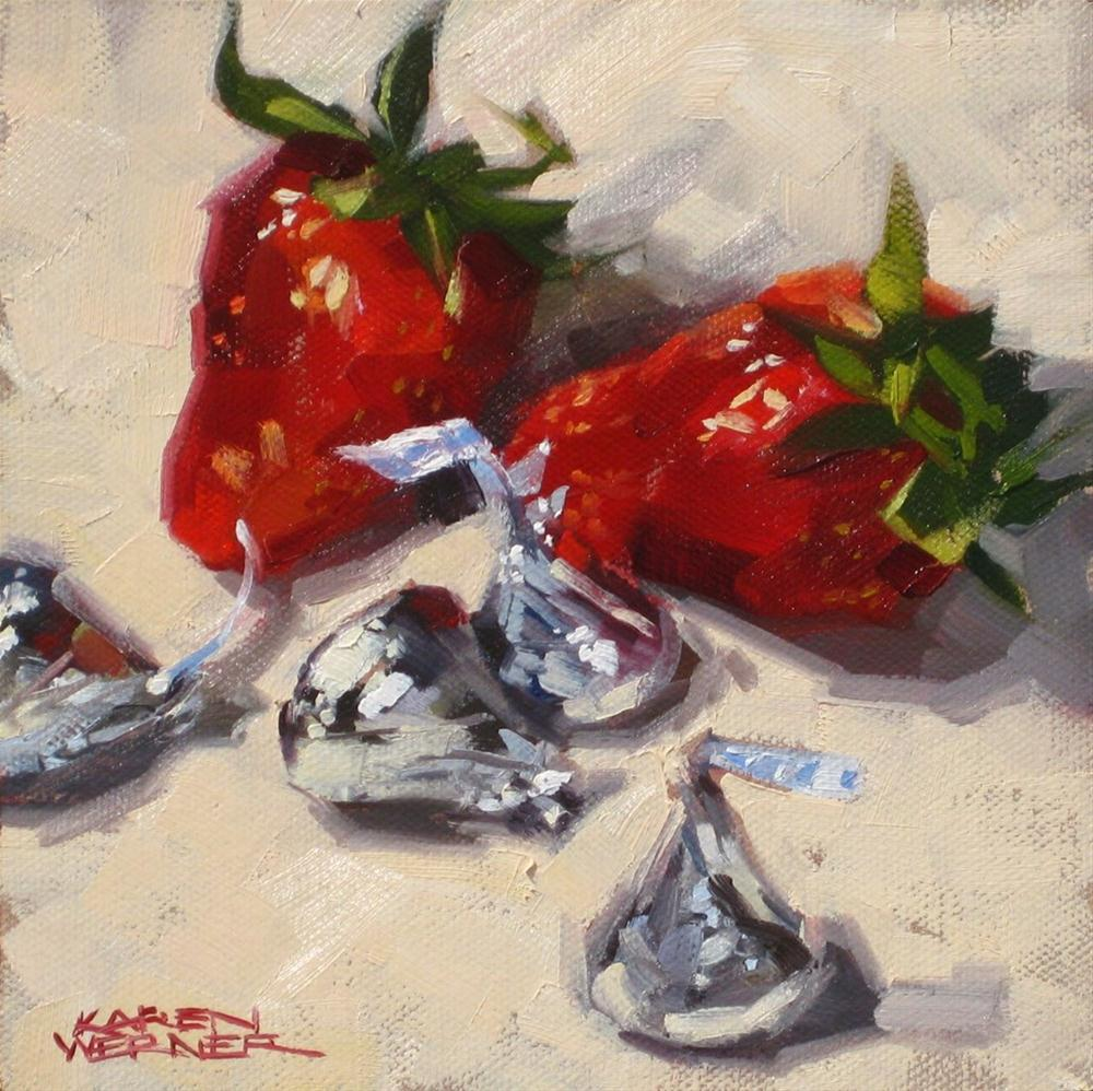 """Strawberry Kisses"" original fine art by Karen Werner"