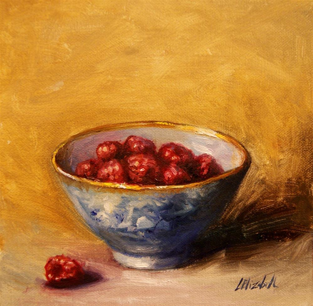 """Raspberries in Blue and White Bowl 6x6 Oil on Linen panel Unframed"" original fine art by Carolina Elizabeth"