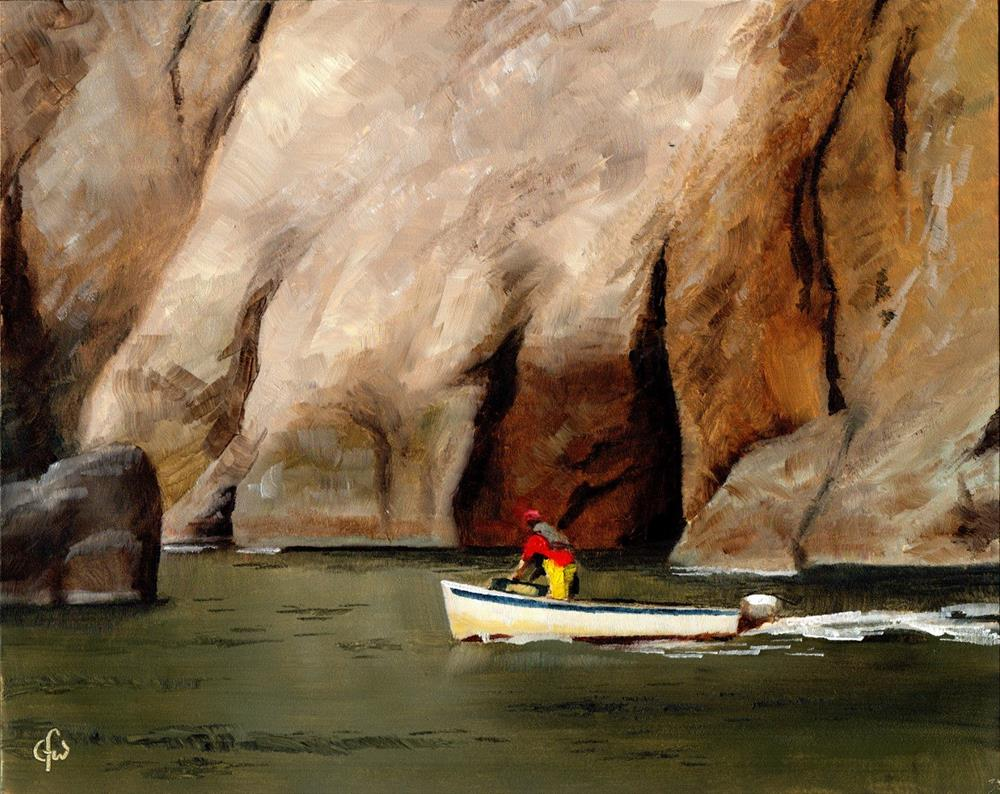 """Boat by the Cliff"" original fine art by Gary Westlake"