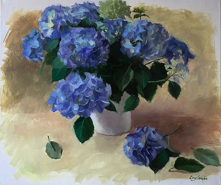 """Blue Hydrangeas"" original fine art by Ling Strube"
