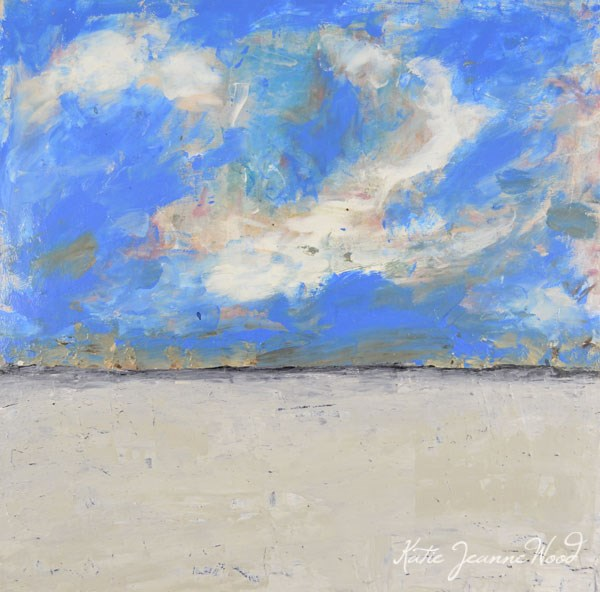 """White beach landscape painting No 5"" original fine art by Katie Jeanne Wood"