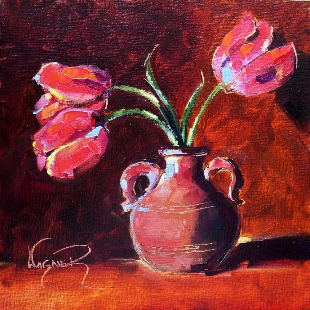 """RED TULIPS IN CLAY VASE by OLGA WAGNER"" original fine art by Olga Wagner"