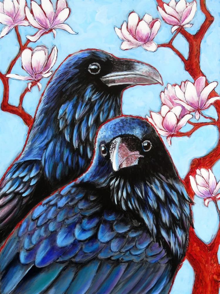 """Ravens and Magnolias"" original fine art by Ande Hall"