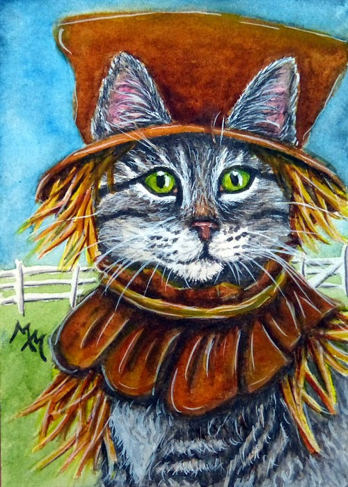 """Scarecrow Tabby"" original fine art by Monique Morin Matson"