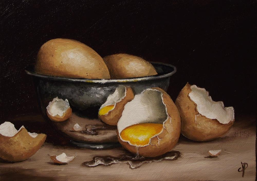 """Eggs with Silver bowl"" original fine art by Jane Palmer"
