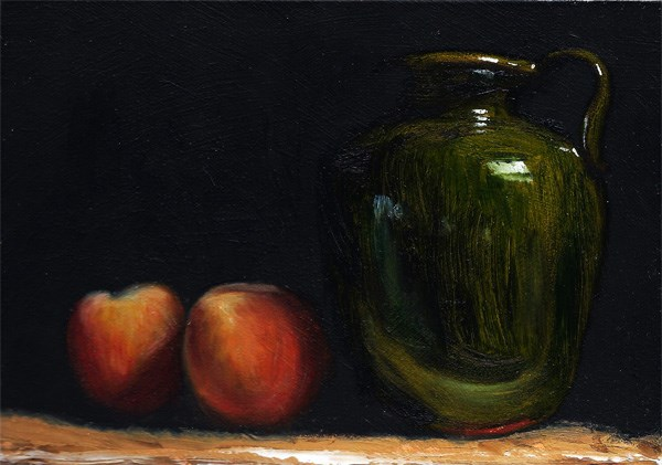 """Peaches with Provencal jug"" original fine art by Peter J Sandford"