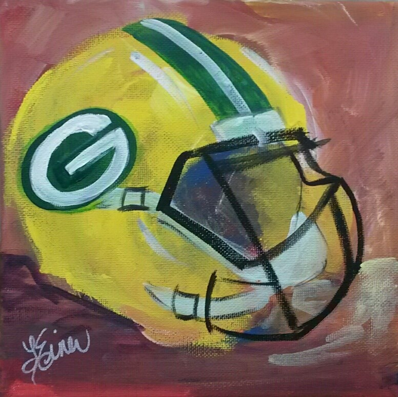 """Packer Helmet"" original fine art by Terri Einer"