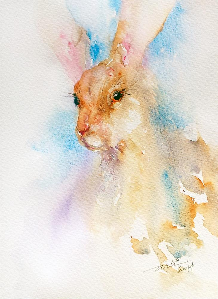 """Red Nose Hare"" original fine art by Arti Chauhan"