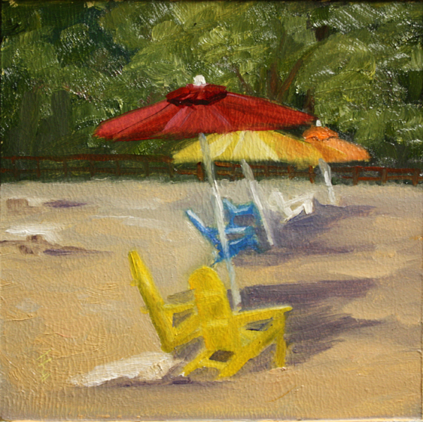 """Beach Brollies"" original fine art by Jane Frederick"