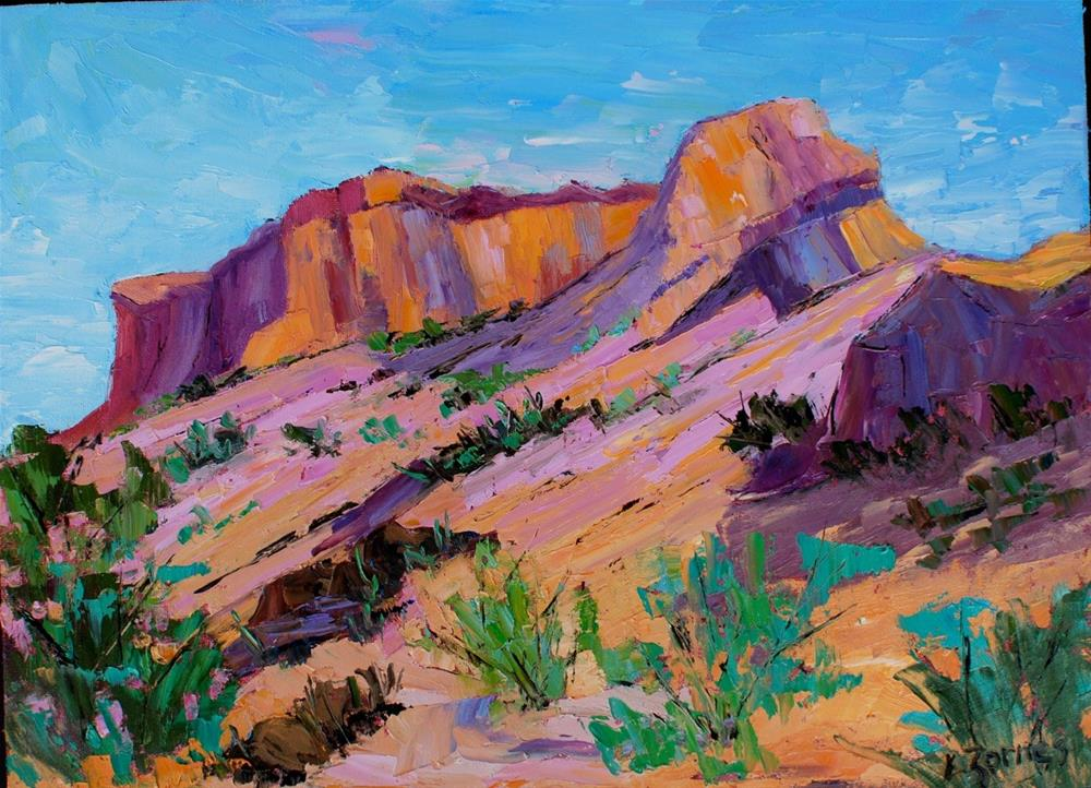 """Santa Fe Cliffs"" original fine art by Liz Zornes"